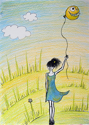 Pencil drawn girl with her grinning balloon