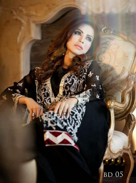 Maria B Mbroidered Fabric featuring Juggan Kazim & Fauzia Aman 2014