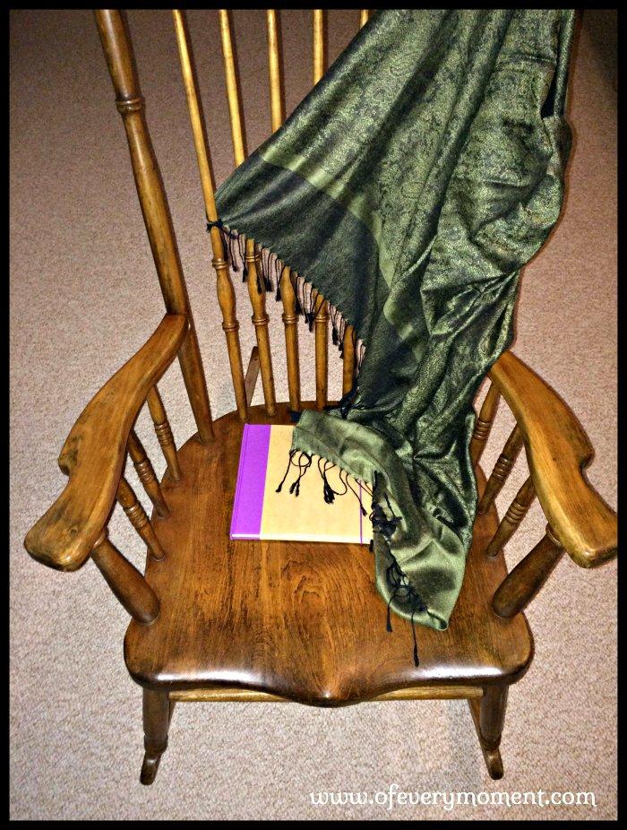 rocking chair, diary, fringed shawl
