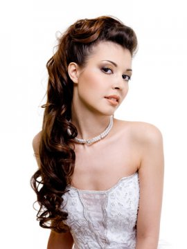 Beautiful Brunette Long Wedding Updo Hairstyle Wedding