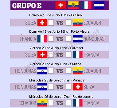 Grupo E Mundial Brasil 2014 - Horarios