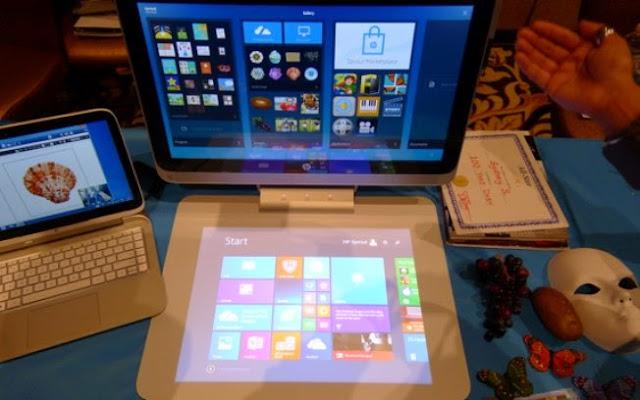 Destaque da maior feira de eletrônicos do mundo Entre os PCs, o destaque ficou com o Sprout, anunciado há alguns meses pela HP e mostrado pela primeira vez na CES. O desktop tem uma câmera que cria um teclado virtua