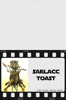 Star Wars Free Printable Party Food Label Sarlacc Toast aka Garlic Toast with Cheese
