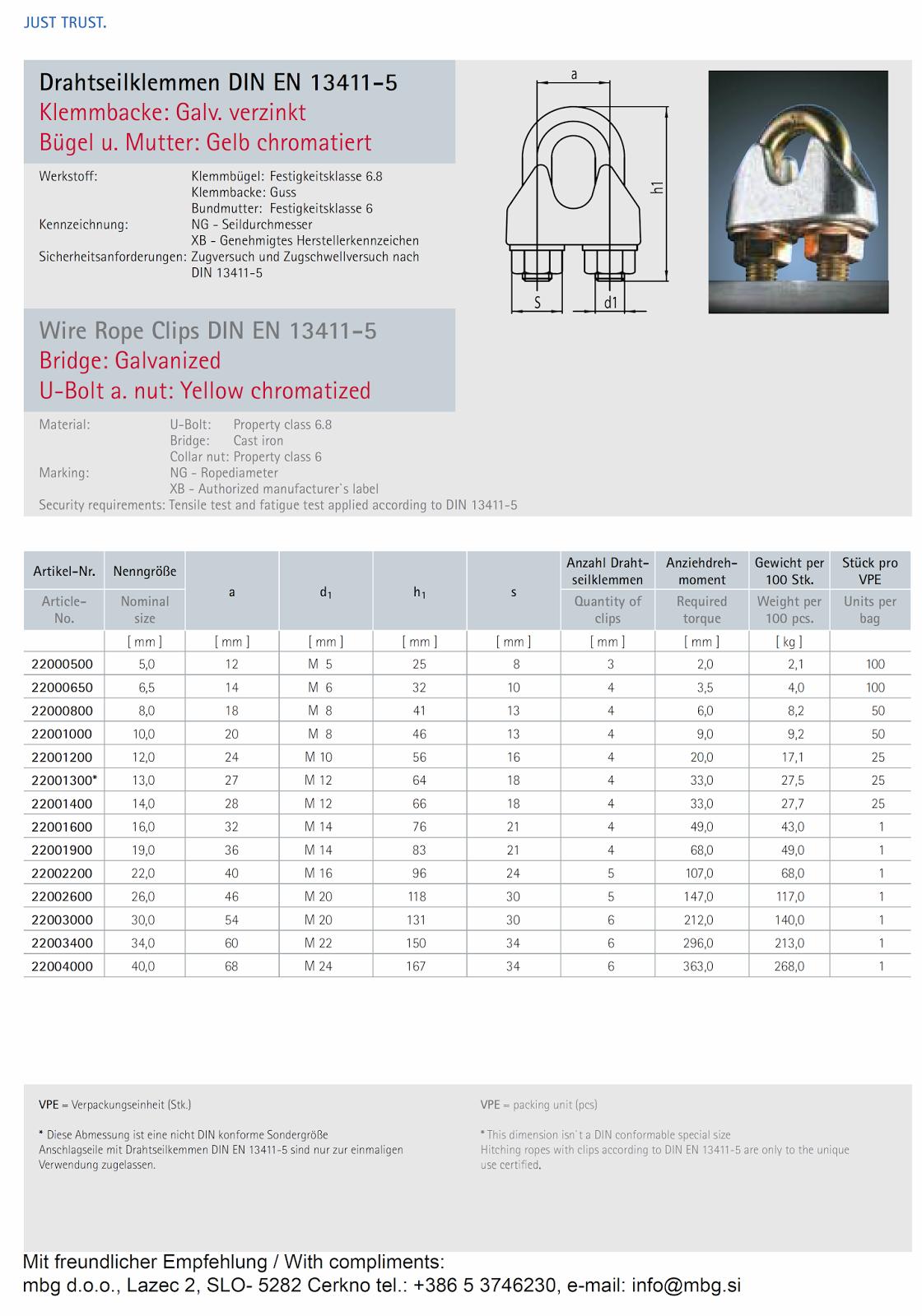 spone za žično vrv DIN EN 13411-5 (DIN 1142)