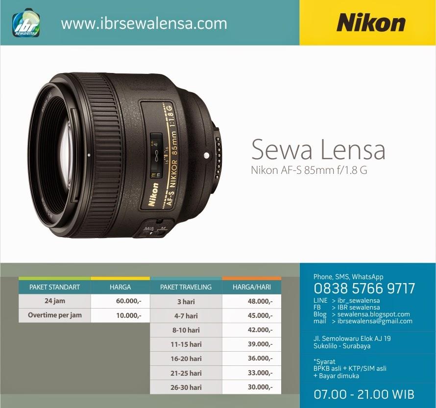 85. Harga Sewa Lensa Nikon AF-S 85mm f1.8 G Surabaya