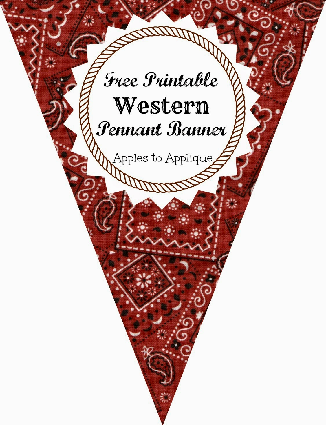 photograph relating to Printable Pennants named Apples toward Applique: Western Bash: Pennant Banner Free of charge