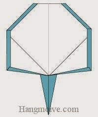 Bước 15: Hoàn thành cách xếp vợt cá vàng bằng giấy.
