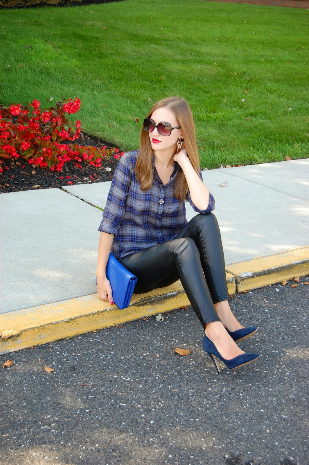 Wearing navy and black. Loft Jeweled Plaid Shirt, H&M leather pants, Charles David Navy Blue Suede Heels