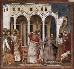 Jesús expulsa a los mercaderes del templo. Giotto di Bondone (1304-1306)