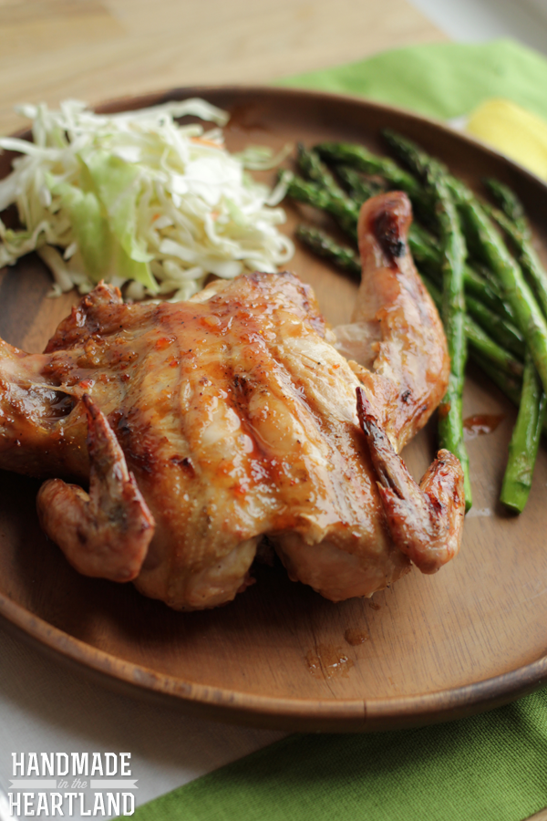 Thai Style Grilled Cornish Hen & Asparagus, Spatchcocked