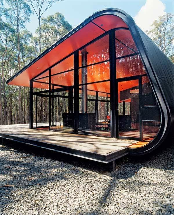 Simple And Future House Red Transparent Design You Can See Outside From Inside