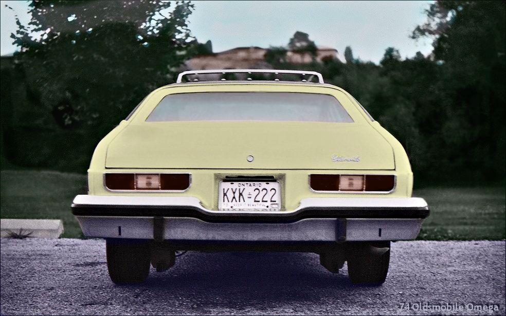 Coloured Black & White image of the 1974 - Oldsmobile Omega