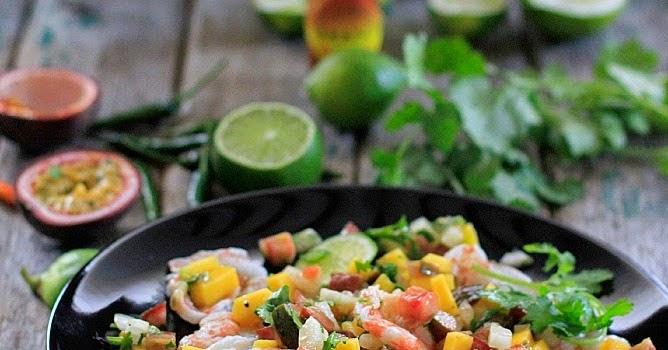Ceviche tropical {de gambas, mango y fruta de la pasión}