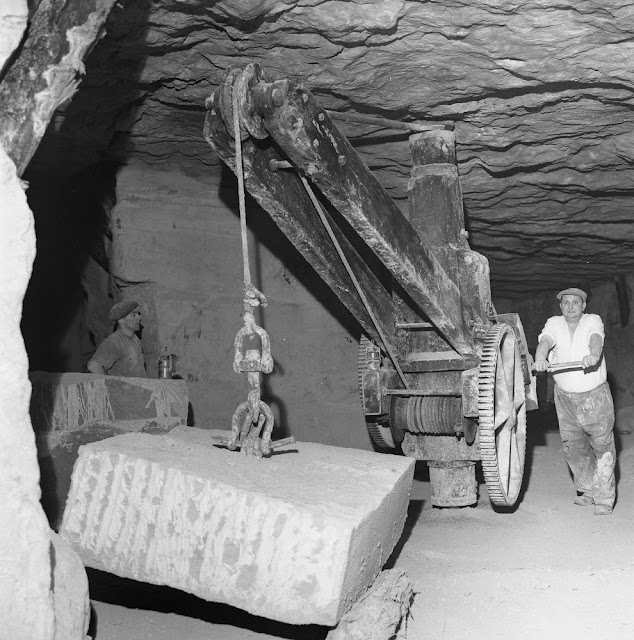 Stone Firms Limited (Bath and Portland) underground working of Bath Stone, Old Cleft Mine, Box, Corsham, Wiltshire.