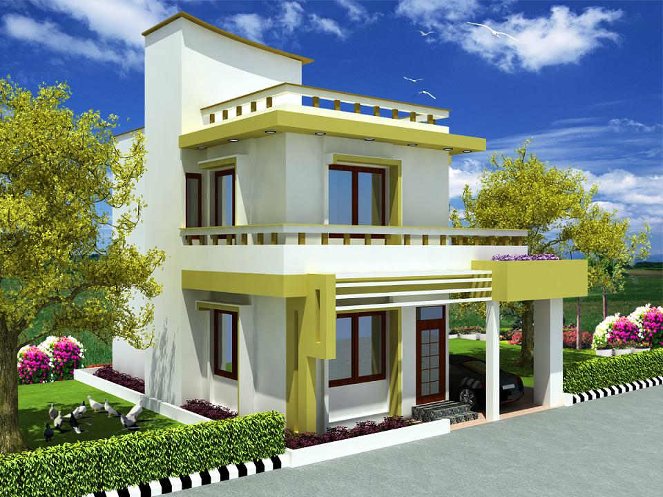 Front elevation of duplex bungalow joy studio design for Duplex house front elevation pictures