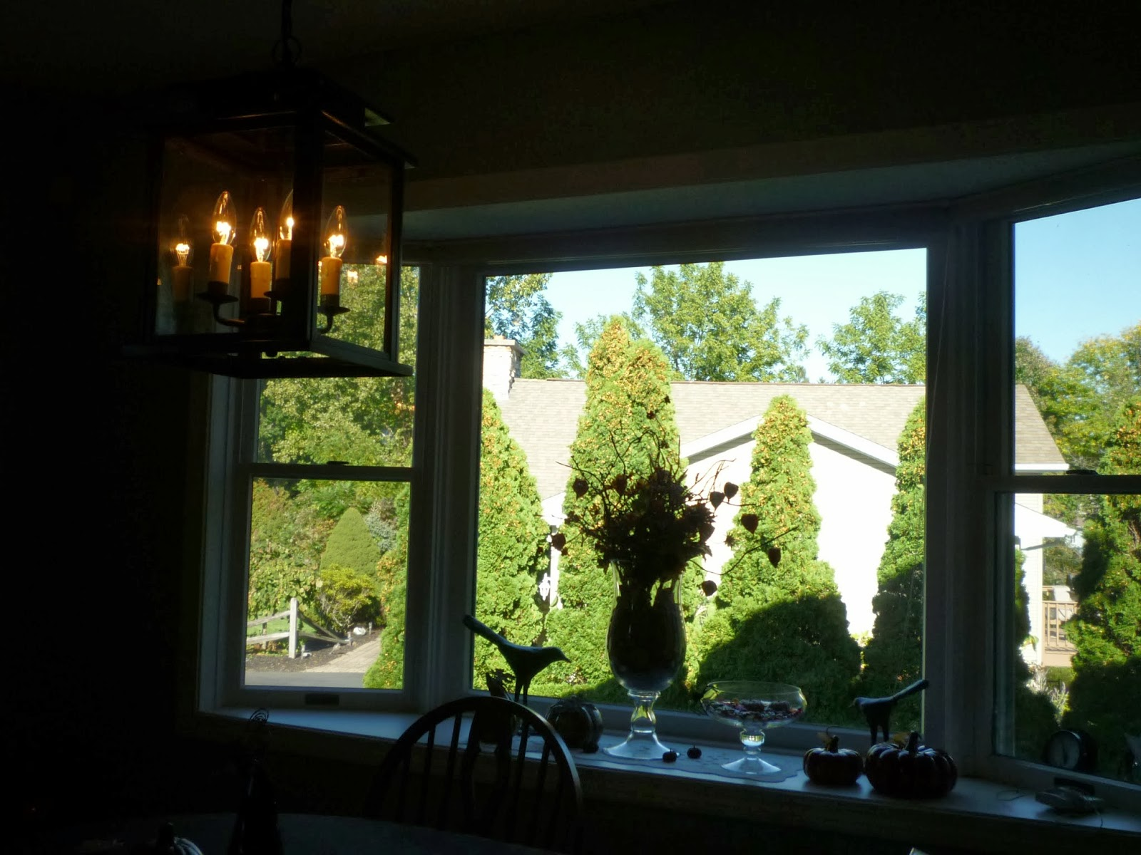 River sister ballard light fixture finished fall window - Window decorations for fall ...