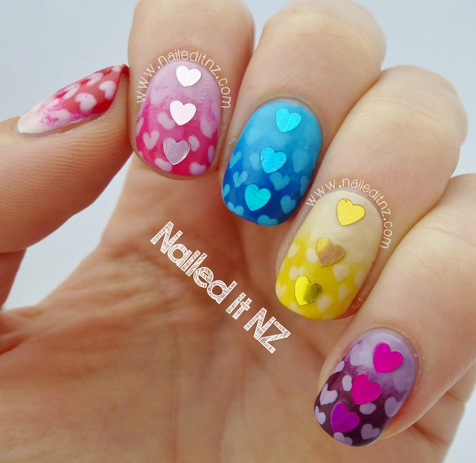 Hunger Hearts - Effie Trinket Nail Art!