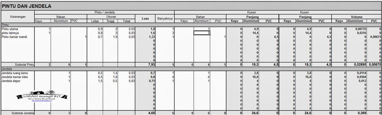 Mengisi tabel pintu dan jendela - menghitung RAB rumah