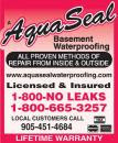 Aquaseal Wet Leaky Basement Solutions Specialists Brampton 1-800-NO-LEAKS or 1-800-665-3257