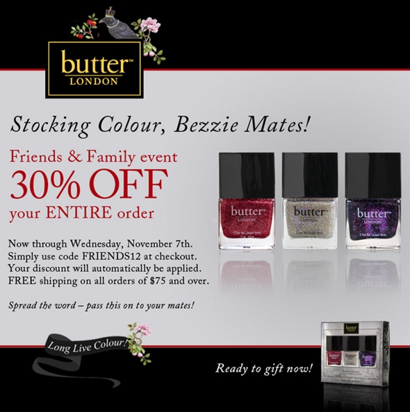 Butter London Exclusive Friends & Family 30% Coupon Code