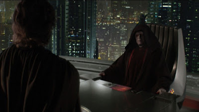 Darth Sidious and Anakin Skywalker in Darth Sidious's office