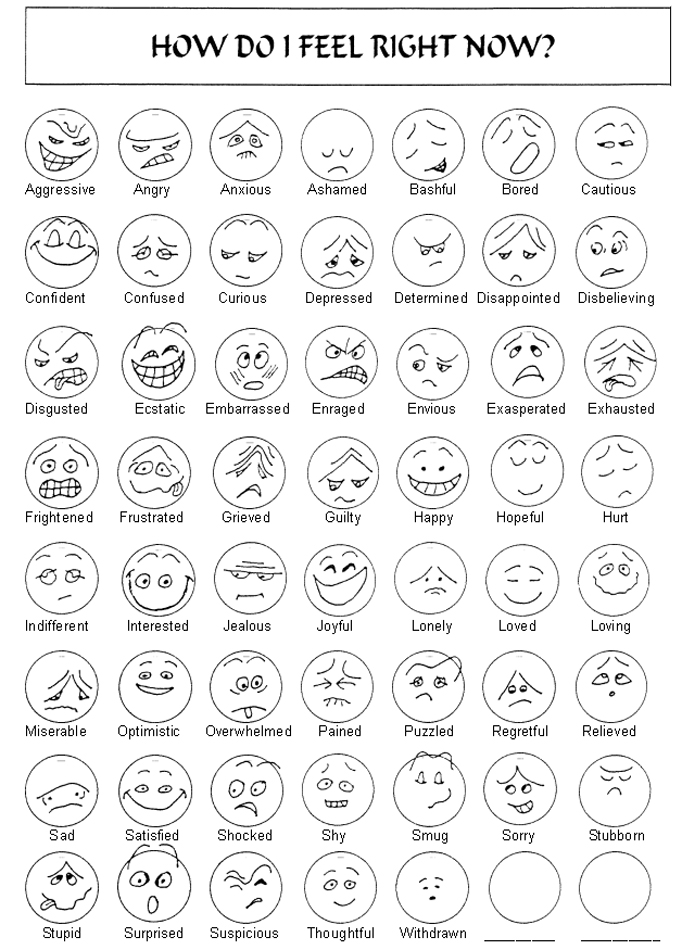 Amazing image within printable feelings chart