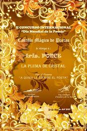 3ER. LUGAR II CONCURSO INTERNACIONAL POR EL DÍA MUNDIAL DE LA POESÍA, MARZO, 2013