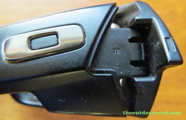 Oakley GasCan Sunglasses: Closeup Of Hinge Mechanism