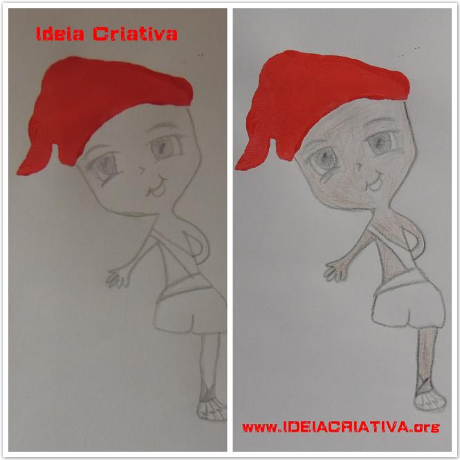 Atividade Desenhando  Saci a partir de Carapuça Carimbada