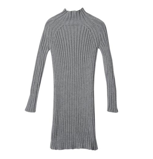 Mock Neck Ribbed Knit Dress