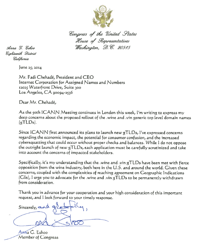 Copy of  Letter from Congresswoman Eshoo to ICANN's Fadi Chehade re: .wine and .vin