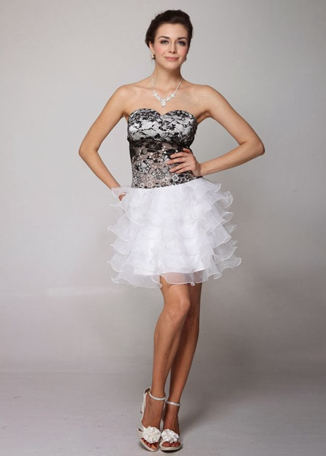 Strapless Sweetheart Short Black and White Wedding Dress