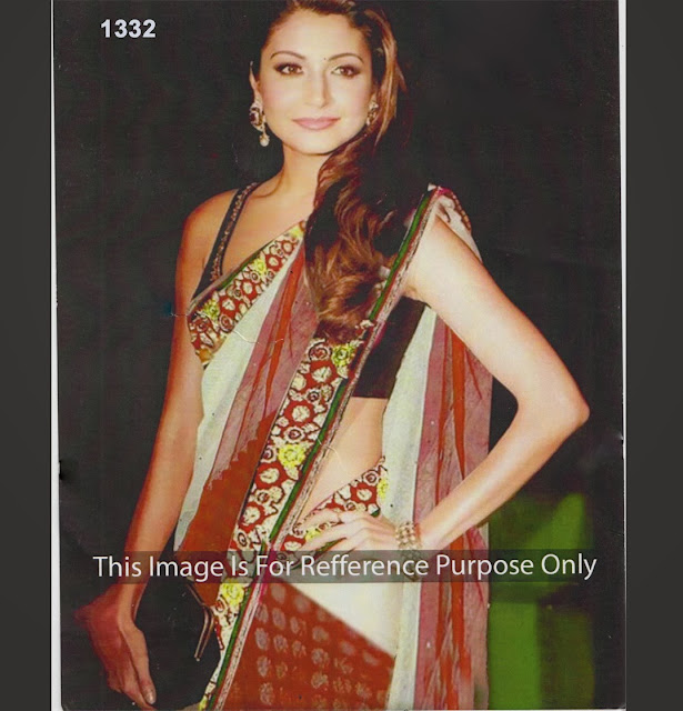 Anushka sharma red Saree, Anushka Sharma White & Red Saree, Anushka Saree,Bollywood Replica Anushka Red and White Saree