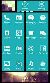 Screenshots of the WP7blue Theme GO Launcher EX  for Android mobile, tablet, and Smartphone.