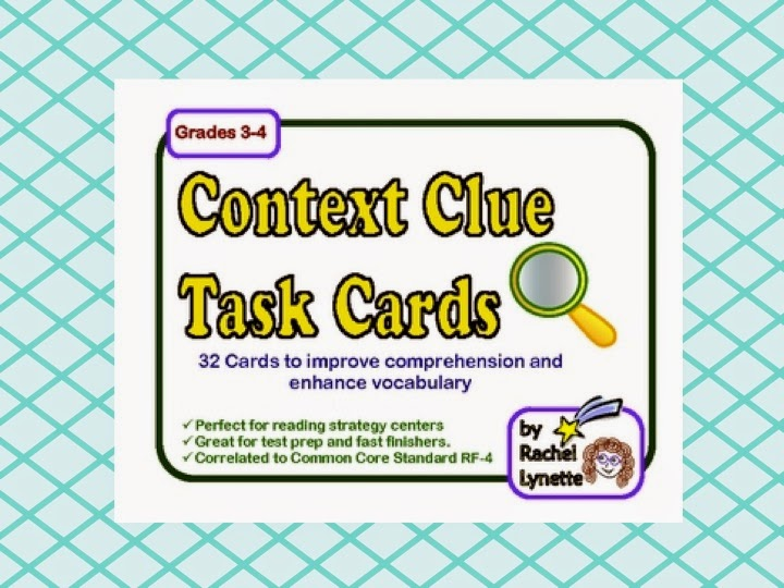 http://www.teacherspayteachers.com/Product/Context-Clues-Task-Cards-32-Cards-for-Grades-3-4-205737