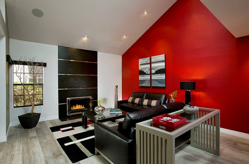 image of Decorating interiors in black, red and white color scheme