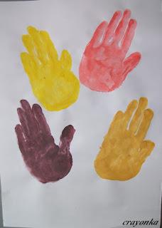 liście - malowanie dłońmi