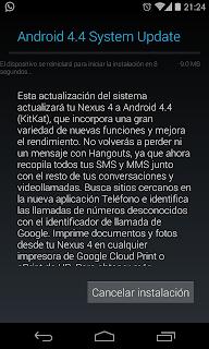 Nueva OTA Android 4.4 KitKat 9 mb, OTA 9mb Nexus 4