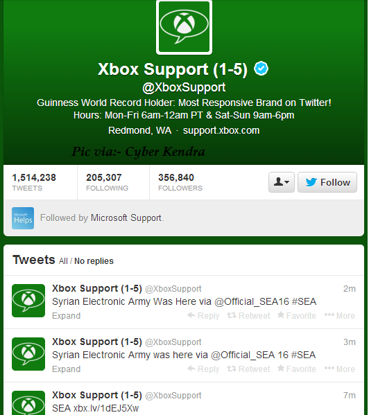 Syrian Electronic Army  hacked Microsoft, Twitter hacked by Syrian Electronic Army , hackers hacked xbox twitter accounts, Xbox twitter accounts hacked by Syrian Electronic Army