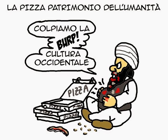 pizza, unesco, patrimonio dell'umanità, satira, vignetta