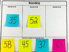 Teach rounding with post-it notes