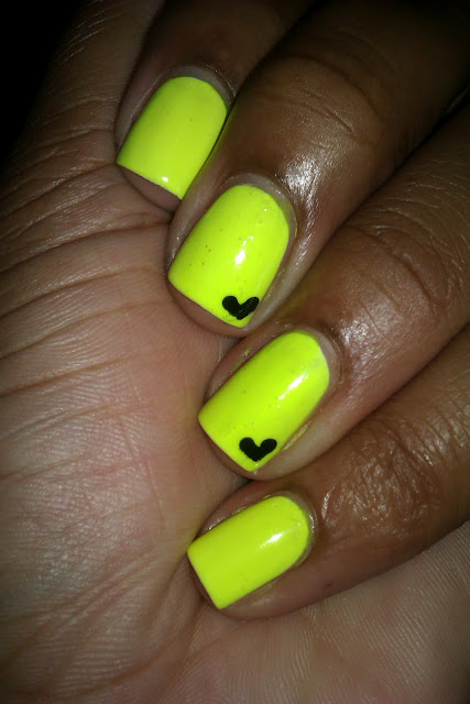 Celtic Sun, neon yellow, hearts, nail art, nail design, mani
