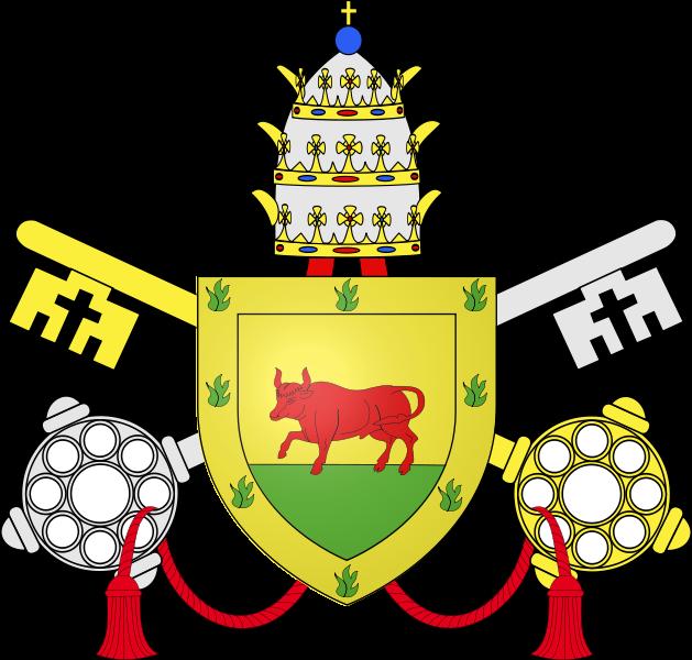 Escudo pontificio de Su Santidad el Papa Calixto III, con las armas de los Borgia.