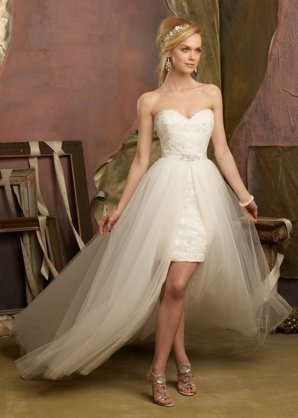 high low 2 in 1 wedding dresses