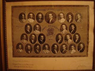 Cuadro con los participantes en el Torneo Internacional de Ajedrez Barcelona 1929