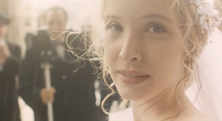 Julie Delpy as Dominique, dressed in white, marriage scene, Three Colors: White, Directed by Krzysztof Kieslowski