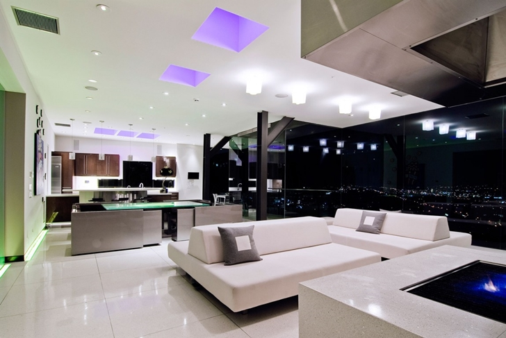 Futuristic interior in Hollywood Mansion by Whipple Russell Architects