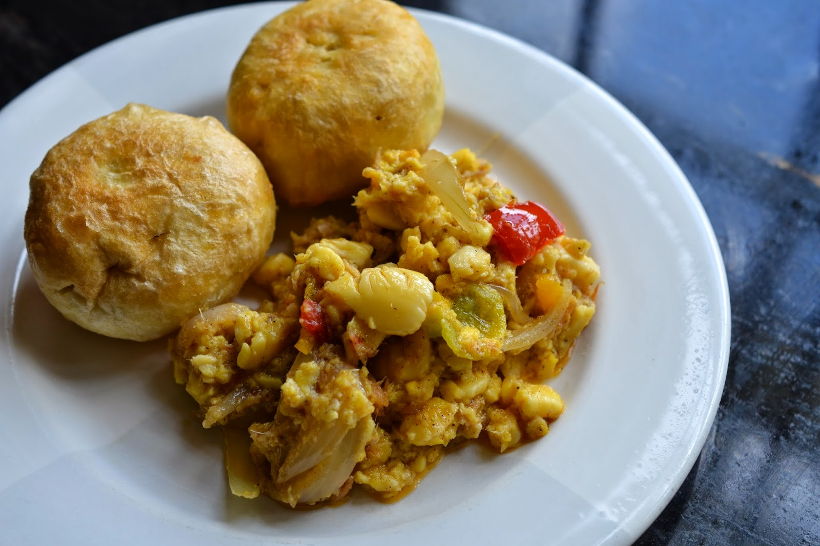 greedy girl ackee and saltfish with fried dumplings