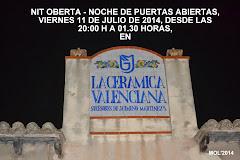 JORNADA DE PORTES OBERTES -PUERTAS ABIERTAS, EN LA CERAMICA VALENCIANA DE JOSE GIMENO, DÍA 11 DE JU