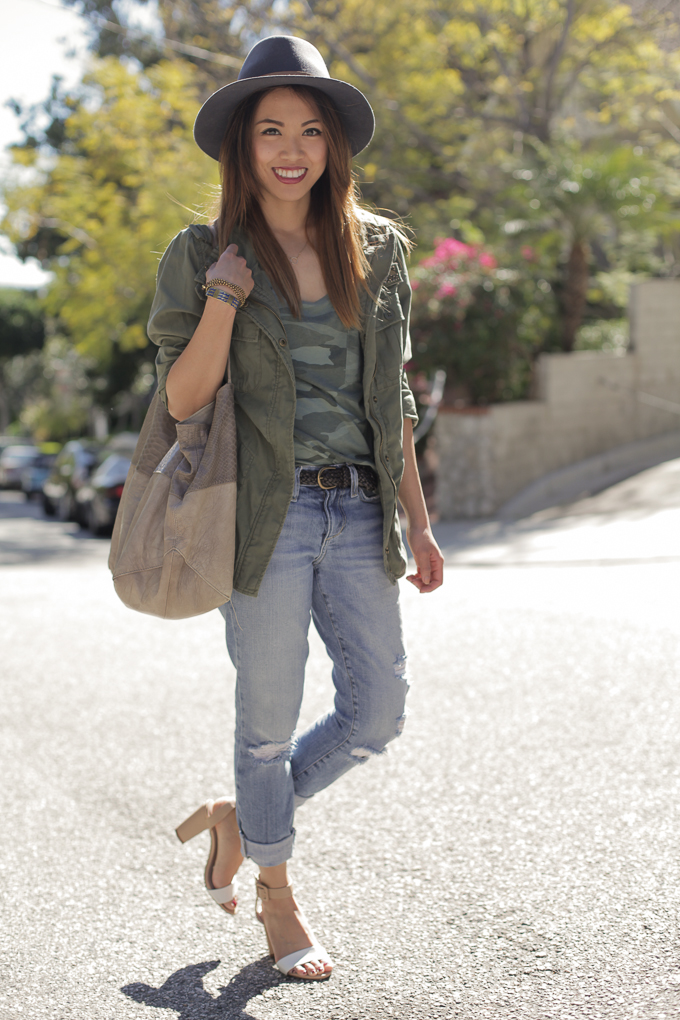 Splendid Camo shirt, Janessa Leone Sadie hat, Joie Huntley Tote, Zara sandals